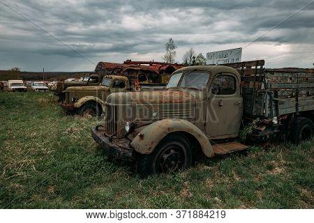 Old Rusty Abandoned Trucks Tula Region, Chernousovo, Russia, May 04 2020