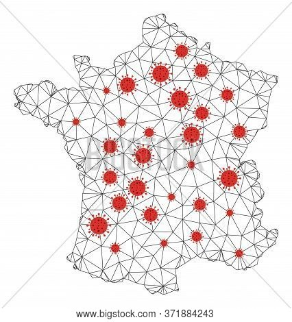 Polygonal Mesh France Map With Coronavirus Centers. Abstract Mesh Lines, Triangles And Covid- 2019 V