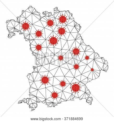 Polygonal Mesh Bavaria Land Map With Coronavirus Centers. Abstract Mesh Lines, Triangles And Covid V