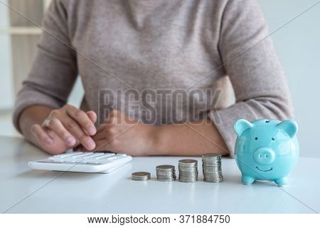 Young Woman And Piggy Bank To Planning Growing Saving Strategy With Pile Coins For Future Plan Fund