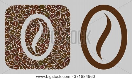 Mosaic Coffee Bean Of Coffee Beans And Basic Icon. Negative Space Mosaic Coffee Bean Is Composed Of