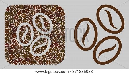 Mosaic Cacao Beans From Coffee Beans And Basic Icon. Stencil Mosaic Cacao Beans Is Created Of Coffee