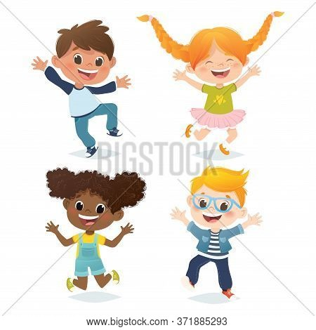 Vector Set Of Multiracial Kids Jumping And Laughing. Cartoon Funny Character Design, Isolated On Whi