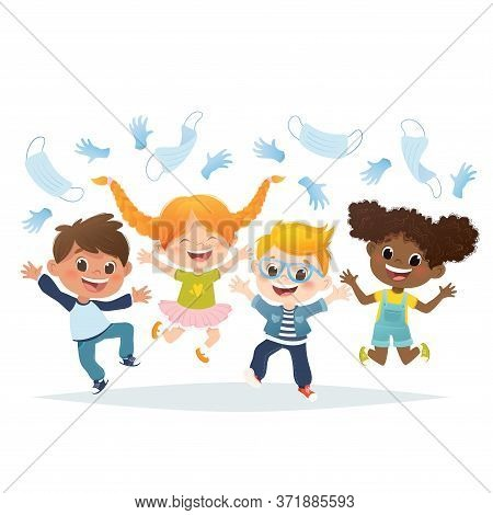Vector Set Of Cartoon Multiracial Kids Jumping And Laughing. Stop Covid19 Epidemy.