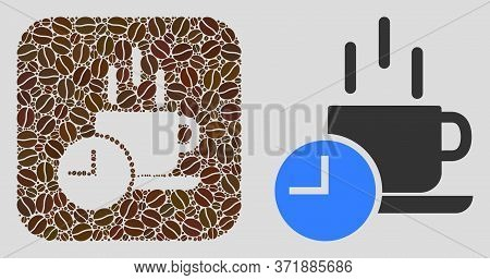 Mosaic Coffee Break With Coffee Beans And Basic Icon. Hole Mosaic Coffee Break Is Designed With Coff