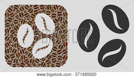 Mosaic Coffee Beans Of Coffee Beans And Basic Icon. Subtraction Mosaic Coffee Beans Is Designed Of C