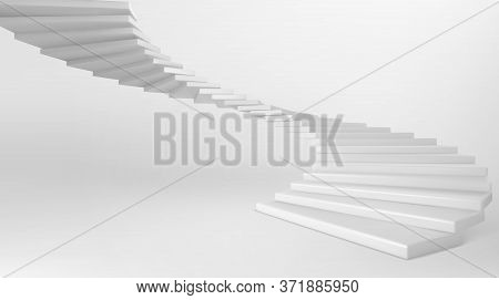 White Spiral Staircase Isolated On Background. Vector Realistic Mockup Of Empty Circular Stair With