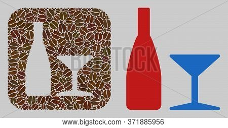 Mosaic Beverage From Coffee Beans And Basic Icon. Hole Mosaic Beverage Is Formed From Coffee Beans.