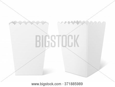 White Paper Box For Popcorn Isolated On Background. Vector Realistic Mock Up Of Empty Bucket For Pop