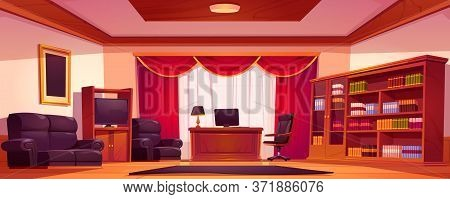 Luxury Office Interior With Wooden Furniture, Computer On Table, Sofa And Bookcase. Vector Cartoon I