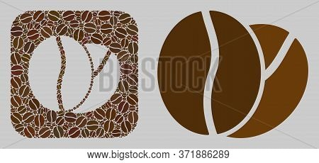 Mosaic Coffee Beans Of Coffee Beans And Basic Icon. Negative Space Mosaic Coffee Beans Is Designed O