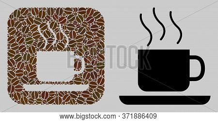 Mosaic Coffee-break Of Coffee Beans And Basic Icon. Subtraction Mosaic Coffee-break Is Formed Of Coc