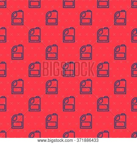 Blue Line Canister For Motor Machine Oil Icon Isolated Seamless Pattern On Red Background. Oil Gallo