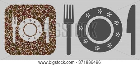 Mosaic Restaurant Tableware From Coffee Beans And Basic Icon. Hole Mosaic Restaurant Tableware Is De