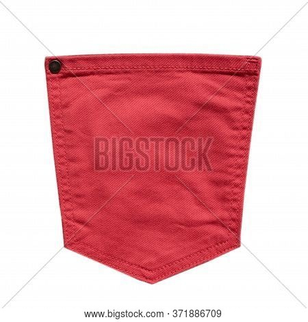 Pink Jeans Back Pocket Isolated On White Background. Denim Fashion, Pocket Design. Closeup
