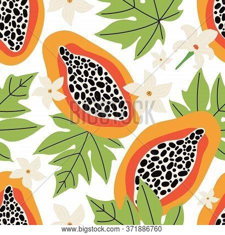 Exotic Summer Seamless Pattern. Orange Papaya On A White Background. Tropical Sweet Fruit Cut Into S