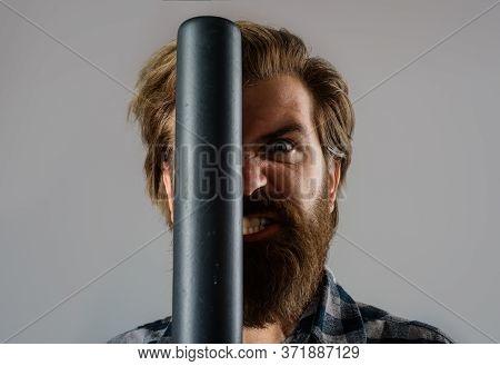 Baseball Player. Close Up Portrait Of Bearded Man With Baseball Bat. Man Swung The Bat. Baseball. Sp