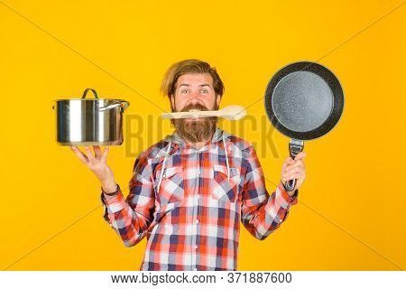 Man With Saucepan. Happy Chef With Fry Pan. Saucepan. Cooking. Kitchenware. Cooking Utensils. Cookin
