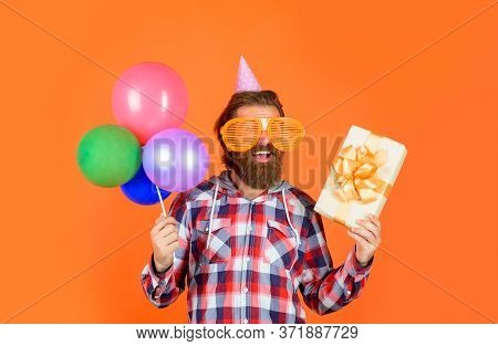 Happy Birthday Party. Man With Balloons And Present. Celebrating Concept. People, Joy, Fun And Happi