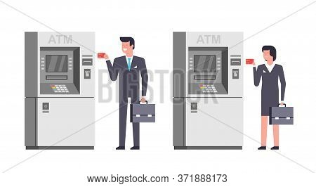People Using Atm. Business Man And Woman Using Card At An Atm. Atm Payment. Isolated On White Backgr