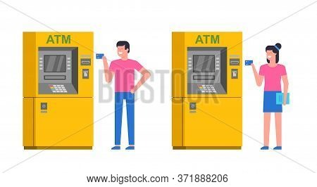 People Using Atm. Man And Woman Using Atm To Withdraw Cash. Atm Payment. Isolated On White Backgroun