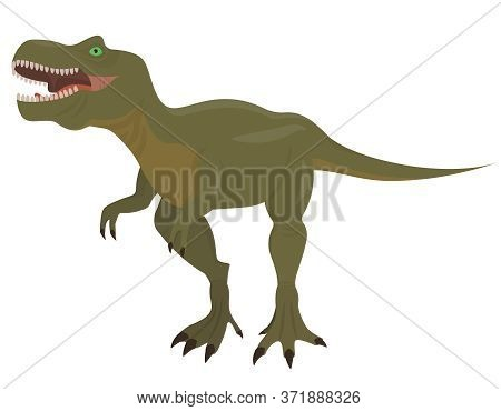 Tyrannosaurus In Cartoon Style. Predatory Dinosaur Isolated On White Background.