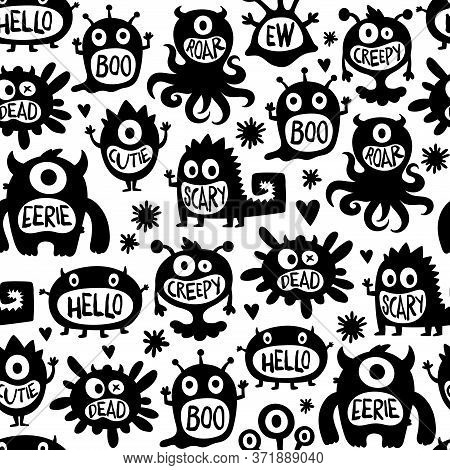 Black And White Vector Seamless Pattern With Flat Cartoon Cute Monsters. Scary Spooky And Creepy Cre