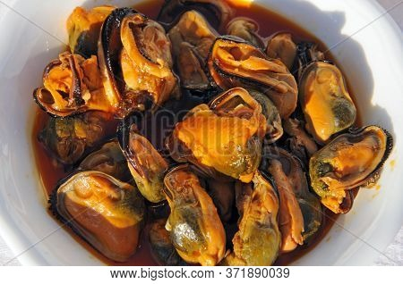 Mussels In Chilli And Tomato Vinaigrette Tapas (mejillones En Escabeche), Andalusia, Spain.