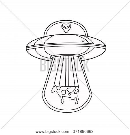 Ufo With An Alien And A Cow. Outline Of A Ufo. Flying Saucer. An Alien Spaceship Isolated On A White
