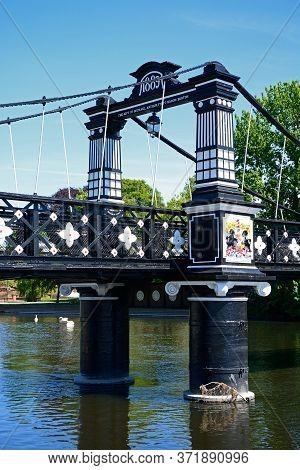 Section Of The Ferry Bridge Also Known As The Stapenhill Ferry Bridge And The River Trent, Burton Up