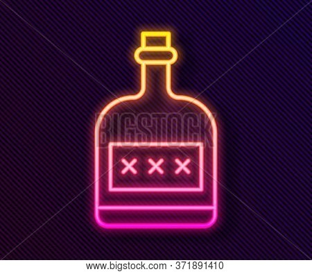 Glowing Neon Line Alcohol Drink Rum Bottle Icon Isolated On Black Background. Vector