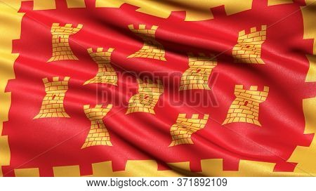 Flag of Greater Manchester waving in the wind. 3D illustration.