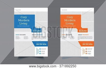 Real Estate Flyer Corporate Business Flyer Poster, Vector Template Pamphlet Brochure Cover Design La