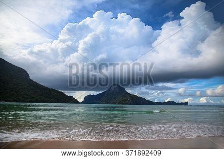 Idealistic Landscape Of El Nido Bay And Cadlao Island, Palawan, Philippines At Wet Season In January