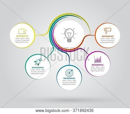 Infographic Template With Twisted Lines. 5 Circle Options For Presentation And Data Visualization. D