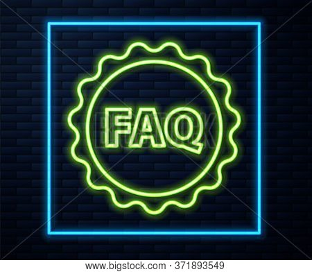 Glowing Neon Line Label With Text Faq Information Icon Isolated On Brick Wall Background. Circle But