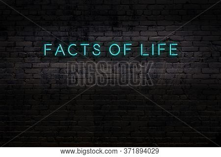 Neon Sign With Inscription Facts Of Life Against Brick Wall. Night View