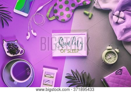 Text Quality Of Sleep In Frame. Healthy Night Sleep Creative Concept. Sleeping Mask, Alarm Clock, Ea