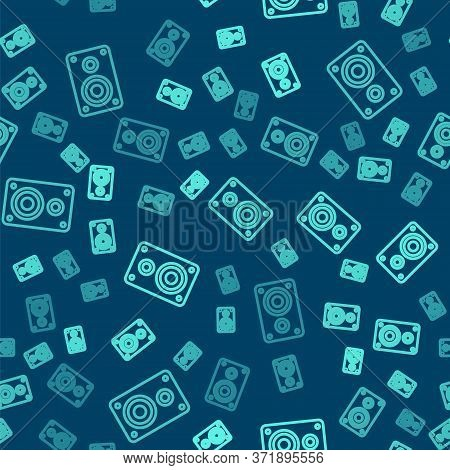 Green Line Stereo Speaker Icon Isolated Seamless Pattern On Blue Background. Sound System Speakers.