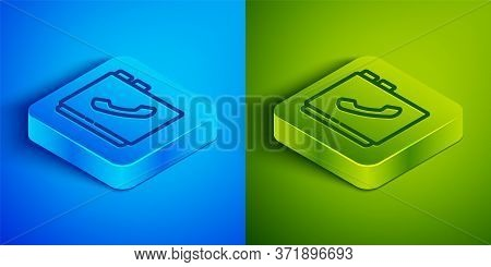 Isometric Line Address Book Icon Isolated On Blue And Green Background. Notebook, Address, Contact,