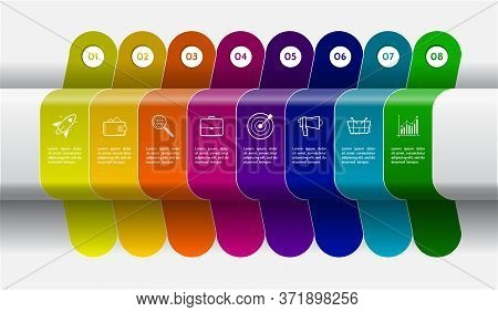 Infographic Design With Icons And 8 Options Or Steps. Thick Lines With Shadow Effect. Vector Infogra