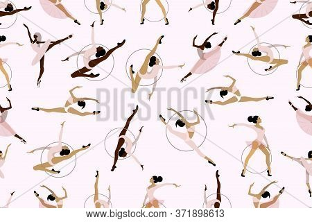 Pattern Of Girl Rhythmic Gymnastics With Hoops And Ballet Dancers Vector Illustration. Women Acrobat