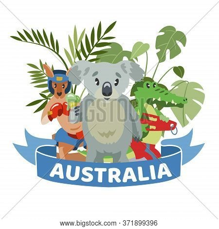 Ribbon Words Australia, Colorful Banner, Animals Wildlife Australian Continent, Design, Cartoon Styl