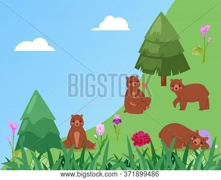 Banner, Bears In Forest, Green Grass In Nature, Landscape, Wildlife, Natural Habitat, Design, Cartoo
