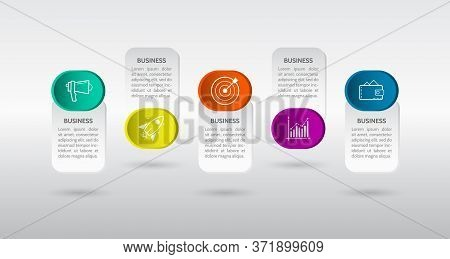 Banner 5 Steps Business Infographic Template With Step Up Options. Vector Template For Presentation,