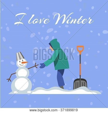 Lettering I Love Winter, Blue Background, Cold, Snowy Season, White Snowball, Funny Snowman, Cartoon