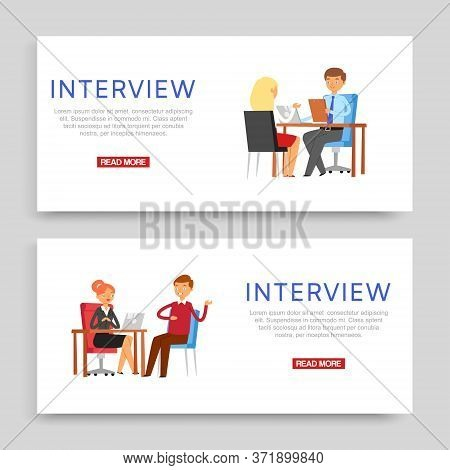 Interview Inscription On Banner, Set Business Posters, Staff Office, Manager Work, Design, Cartoon S
