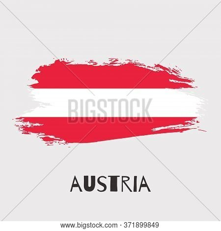 Austria Vector Watercolor National Country Flag Icon. Hand Drawn Illustration With Dry Brush Stains,