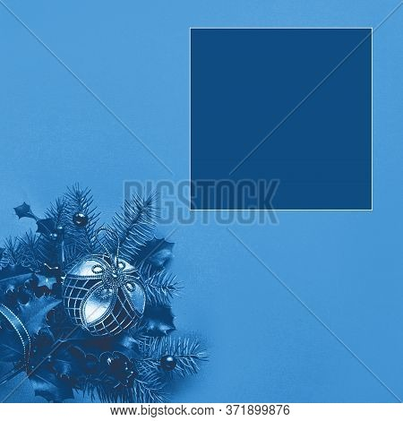 Festive Monochrome Blue Color Christmas Background, Square Composition With Copy Space In Color Swat