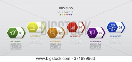 Vector Infographic Flat Template Hexagon For Six Label, Diagram, Graph, Presentation. Business Conce